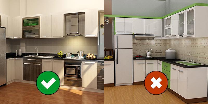Kết quả hình ảnh cho bếp đặt giữa tủ lạnh và chậu rửa